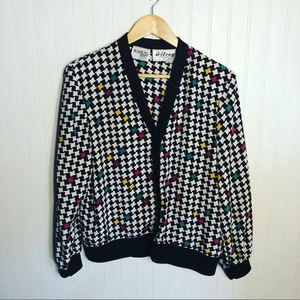 Vintage Lightweight Cardigan Jacket Houndstooth